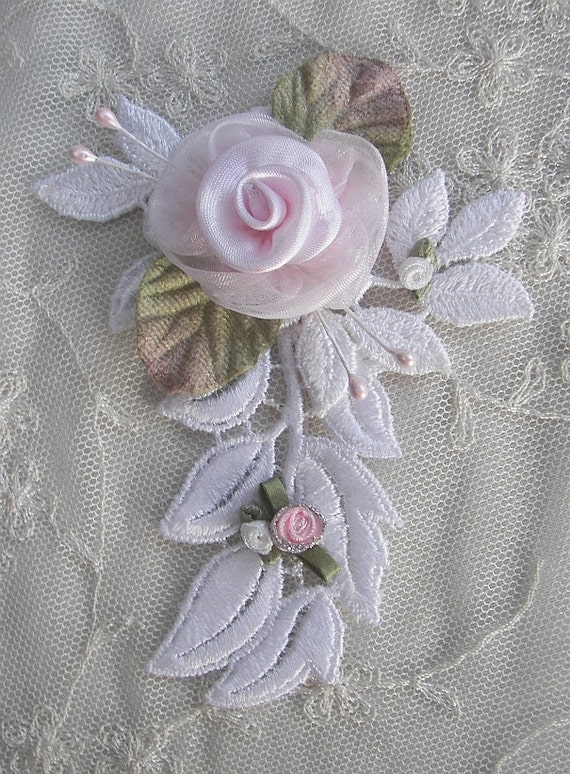 Fabric Beaded Flower Applique Pink Organza Rose w White Embroidered Lace Leaf Pearl Bead Hat Corsage  Pin