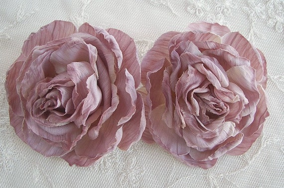 Cabbage Rose Flower Applique SALE 2pc toffee mauve pink Crinkle Victorian Hat Corsage