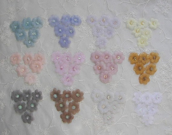 72pc Organza Sequin Beaded Fabric Flower Applique Handmade Hand Dyed Baby Doll Dress