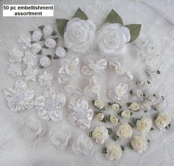 50p Antique White Cream Fabric Flower Applique Assortment Baby Doll Satin Organza Ribbon Rose w Rhinestone Pearl Hair Bow