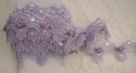 Lavender beaded flower lace embroidered organza doll bridal embellished with pearls sequins flowers