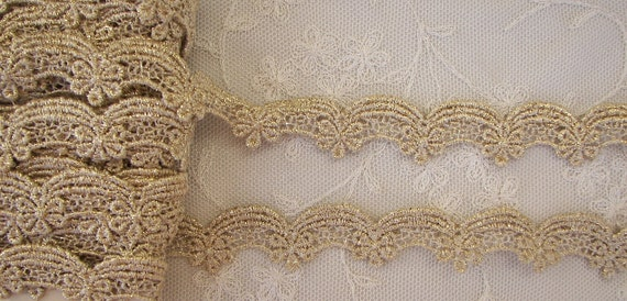 Champagne Gold Fabric Champagne Gold Embroidered