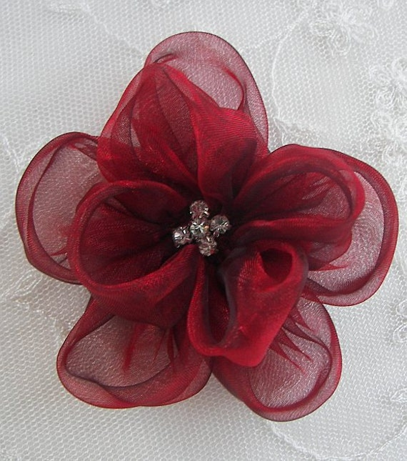 Fabric Beaded Flower Applique Rhinestone Organza Rose Bridal Pageant Christmas Rusty Red Hat Corsage