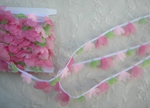 Organza Pink Tulip Flower Ribbon Trim Scrapbook Doll Quilt