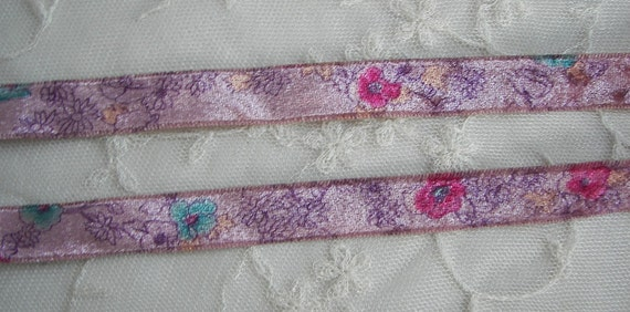 3yd Chic Mauve Pink Rose Flower Floral Velvet Victorian Ribbon Trim Scrapbook Bridal Doll Quilt