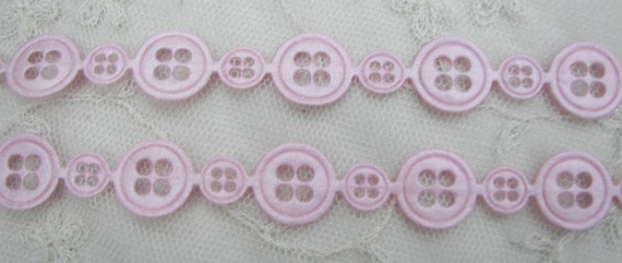3 yds Pink Sewing Button Ribbon Trim Couture Scrapbooking Embellishment