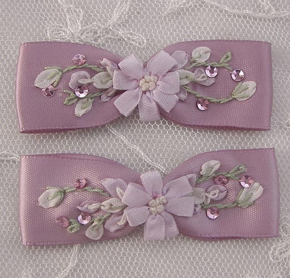 2pc Sequin Beaded Embroidered  Mauve Ribbon Satin Fabric Flower Bow Applique Rose Bud Christening Baby Doll Corsage