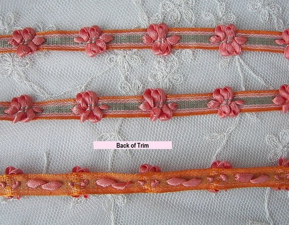 Peach Green Flower Stripe Grosgrain Ribbon Trim Scrapbook Doll Quilt