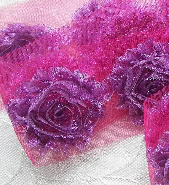 1 yd Fuchsia Orchid Shabby Metallic Ribbon Flower Tulle Trim Scrapbook Fairy Pageant Costume Doll Quilt