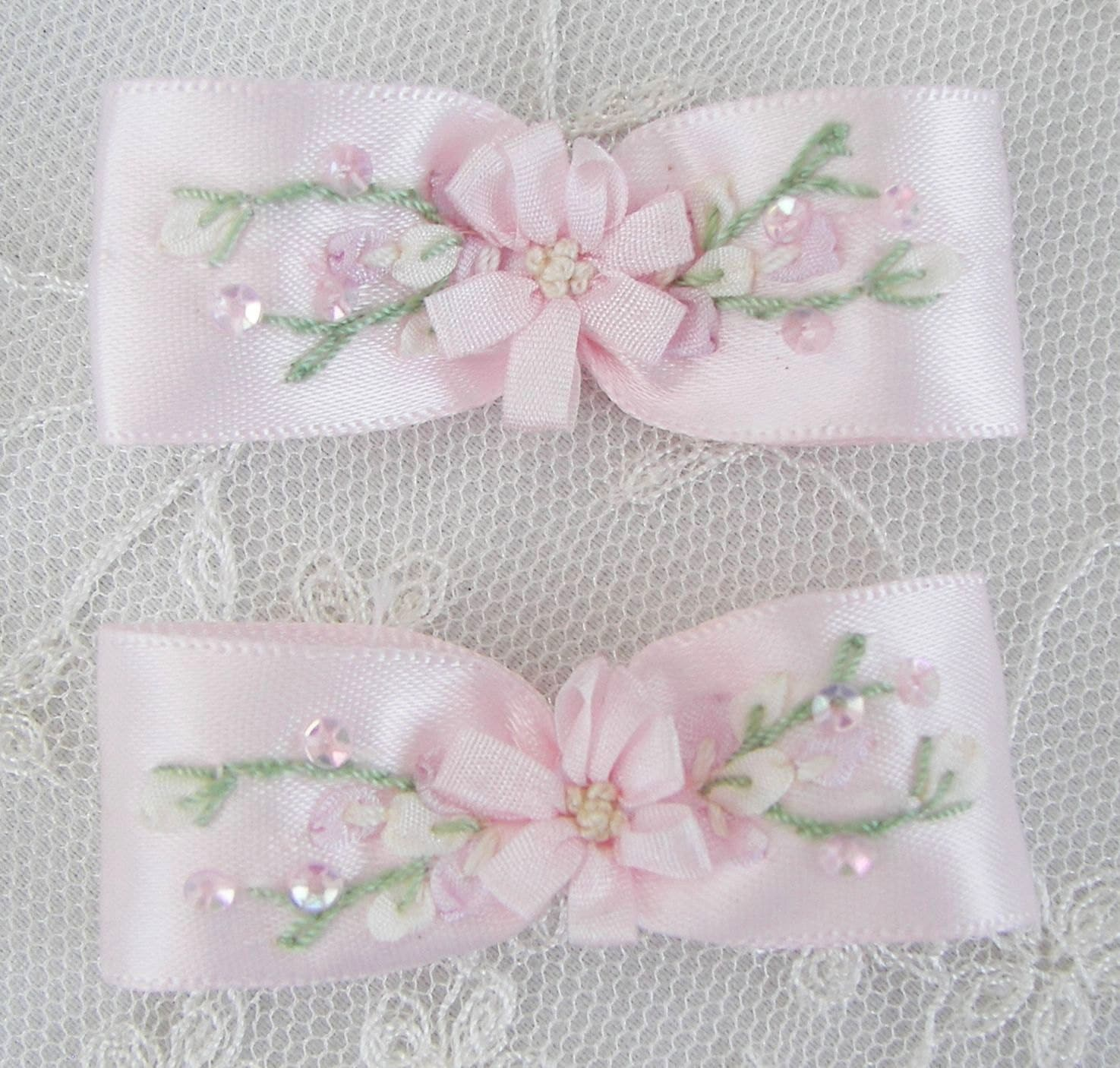 2pc Hand Embroidered Cameo Pink Satin Ribbon By