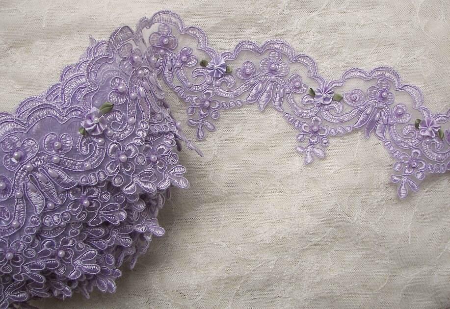 Lavender Pearl Sequin Beaded Flower Lace Trim Embellished