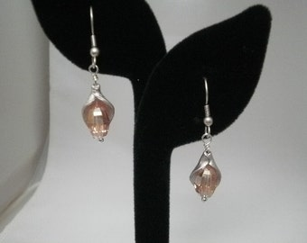 Silver and Pale Pink Dangle Earrings