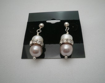 Pink and Cream Pearl Earrings