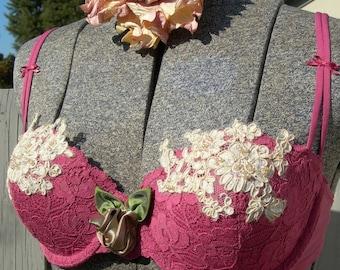 SALE Mauve Hand Embelished Bra and Panties Bridal Lingerie Set