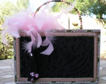 Sexy Black Velvet Tiger CIGAR BOX PURSE