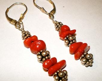 RED CORAL BALI Silver Beaded Earrings