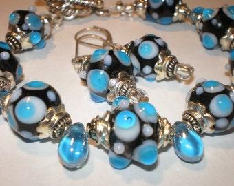 LAMPWORK  Polka Dot BRACELET with Earrings