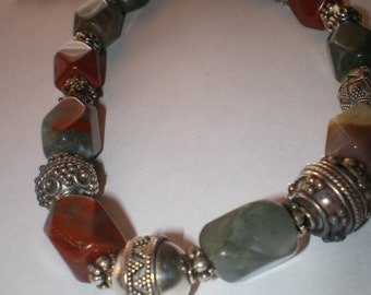 JASPER Gemstone Necklace and Bracelet 2pc set