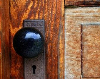 Old Wooden Door Fine Art Photograph - Vintage Door - Keyhole - Brass Faceplate - Brown - Blue - Black - Photograph
