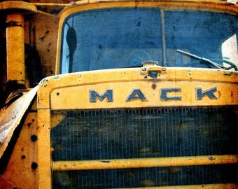 Vintage Yellow Mack Truck Fine Art Photograph Rusty Metal Truck Art For Him Father's Day Kid's Room Children's Room