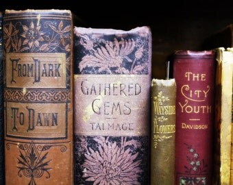 Vintage Books Fine Art Photography - Red Purple Gold Sepia Photograph - Old Books - Stories