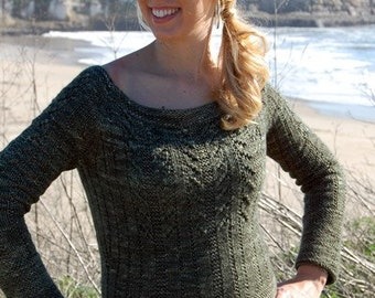Knitting Patterns For Sweaters In The Round : Items similar to PDF KNITTING PATTERN, Seamless, Knit Flat ...