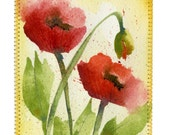 Poppies with Yellow Background Original Watercolor 5 x 7