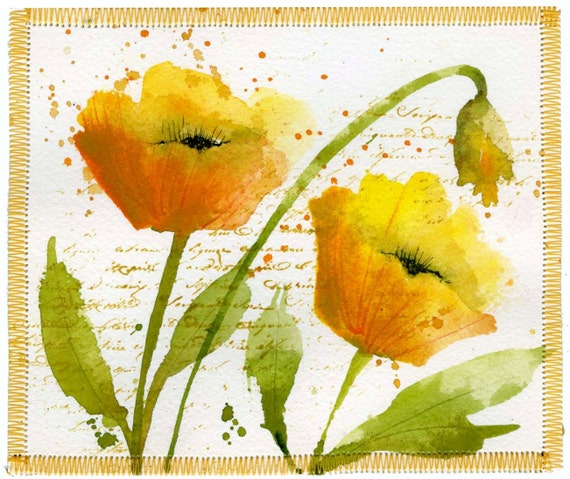 Bright Yellow Poppies Original Watercolor 6x5 by marthalever
