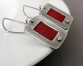 Cranberry - sterling silver and silk earrings