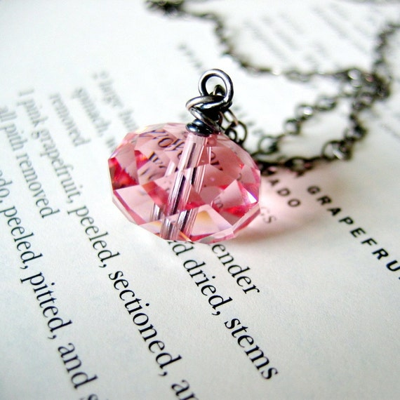 Pink Grapefruit - Swarovski crystal and sterling silver necklace