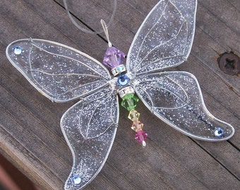 Suncatcher Butterfly- Birthstones & 28 More Swarovski Colors - Silver Toned
