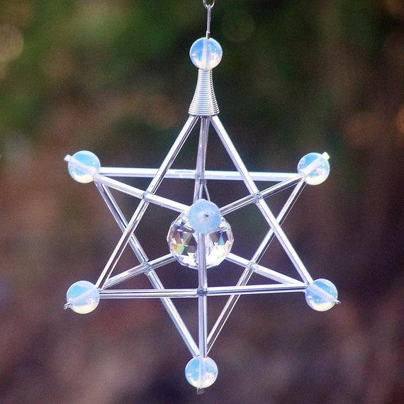 Opalite - Serenity - Gem Star Merkaba Suncatcher / Pendulum