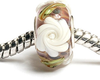 Glass Lampwork Beads - Large Hole Brown w/White Flower Rondelle Bead  - SC10060