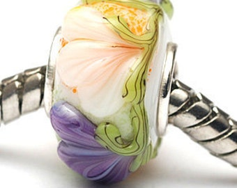 Glass Lampwork Beads - Large Hole White w/Purple Flora Rondelle Bead  - SC10099