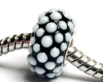 Glass Lampwork Beads - Large Hole Black w/White Dots Rondelle Bead  - SC10050