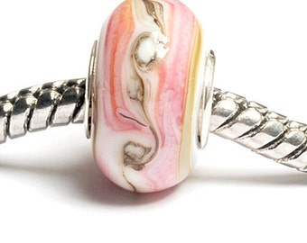 Glass Lampwork Beads - Large Hole Pink w/Beige & Ivory Rondelle Bead  - SC10022