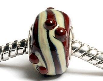 Glass Lampwork Beads  - Large Hole Dark Brown w/Beige Rondelle Bead - SC10064