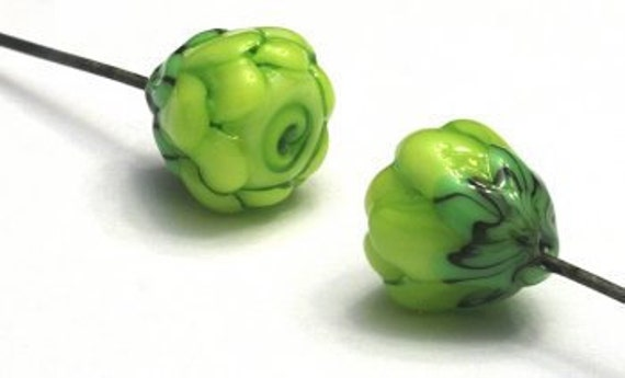 Glass Lampwork Beads -  Lime Green Floral Headpin Pair -  GHP-05