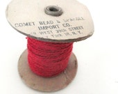 Vintage spool of colorful vintage wool yarn