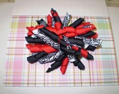 Corker Hair Bow Red Black Zebra - Ready to Ship