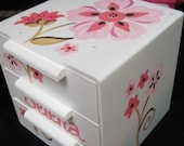 personalized jewelry box bow holder pink and brown flowers bling