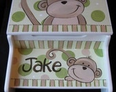 storage step stool personalizd hand painted mod monkeys