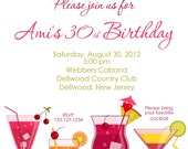 girls night cocktails invitation print yourself