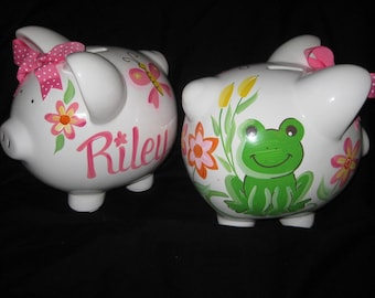 PERSONALIZED hand painted personalized piggy bank Zoe the Frog