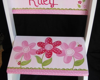custom hand painted personalized chair flip step stool pink daisy garden ladybug