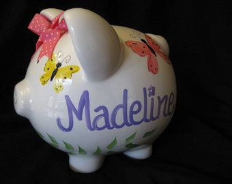 piggy bank hand painted personalized modern multi butterfly