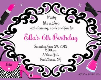 diva party invitation custom digital invitation print yourself