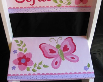 personalized chair step flip stool sofia butterfly
