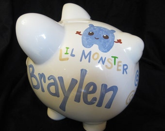personalized hand painted piggy bank little monsters