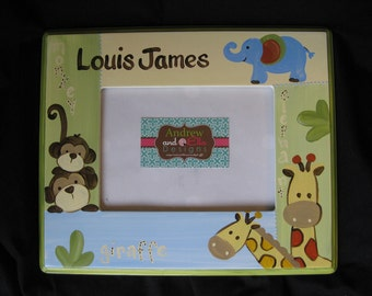 custom hand painted picture frame zoo zoo giraffe elephant monkey